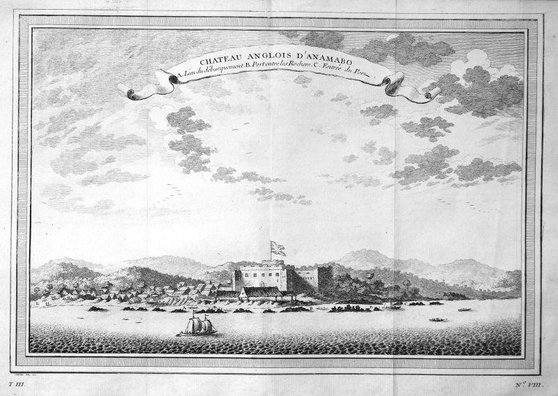 Ca. 1750 Fort William Afrika Africa Ansicht view Kupferstich antique print