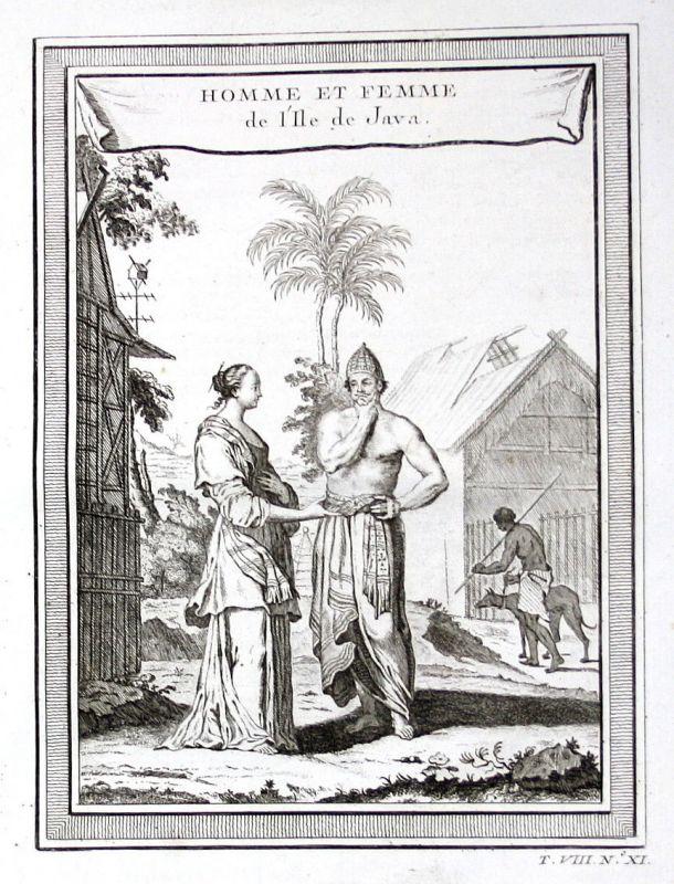 Ca. 1750 Java Indonesia Mann Frau Trachten costumes Kupferstich antique print