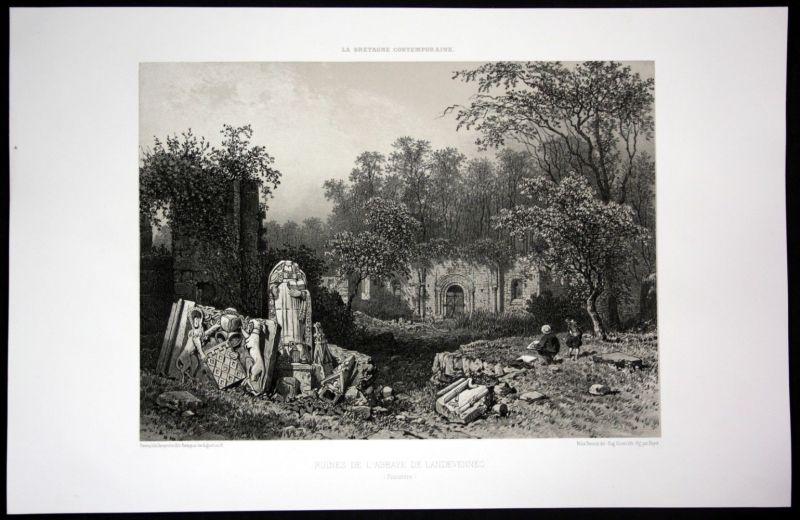 Ca. 1860 Abbaye de Landevennec Ruine Bretagne Frankreich France Lithographie