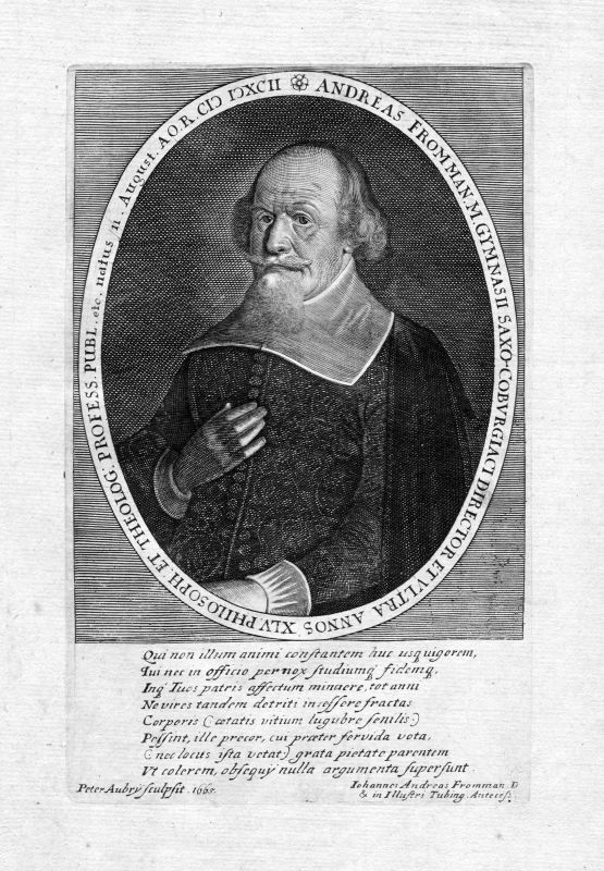 Ca 1650 Johann Andreas Frommann Jurist Coburg Portrait Kupferstich antique print