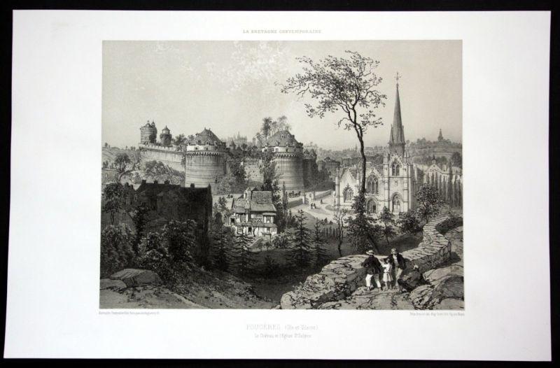 Ca. 1860 Fougeres chateau eglise vue Bretagne Frankreich France Lithographie