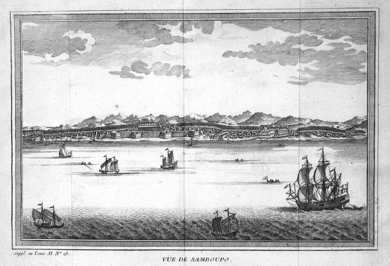 Ca. 1750 Samboupo Sudainseln Suda Islands Ansicht view Kupferstich antique print