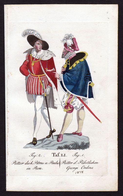 Ca. 1820 Orden des Peturs und Paulus St. Georgs-Orden Ritterorden antique print