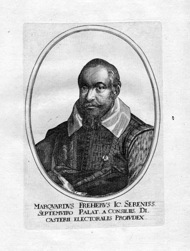 Ca. 1650 Marquard Freher Jurist historian Portrait Kupferstich antique print