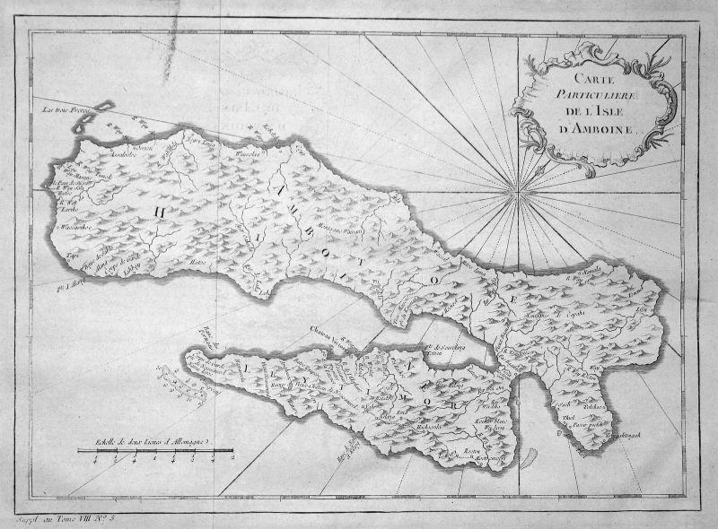 Ca. 1750 Ambon Molukken Maluku Karte map Kupferstich antique print Bellin