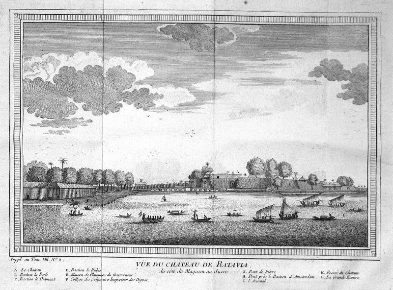 Ca. 1750 Batavia Jakarta Indonesia Hafen Ansicht view Kupferstich antique print