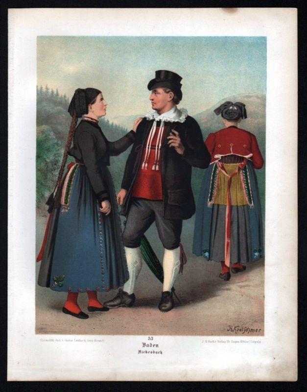 1890 Baden Rickesbach - Tracht Trachten Lithographie Kretschmer Albert 109522