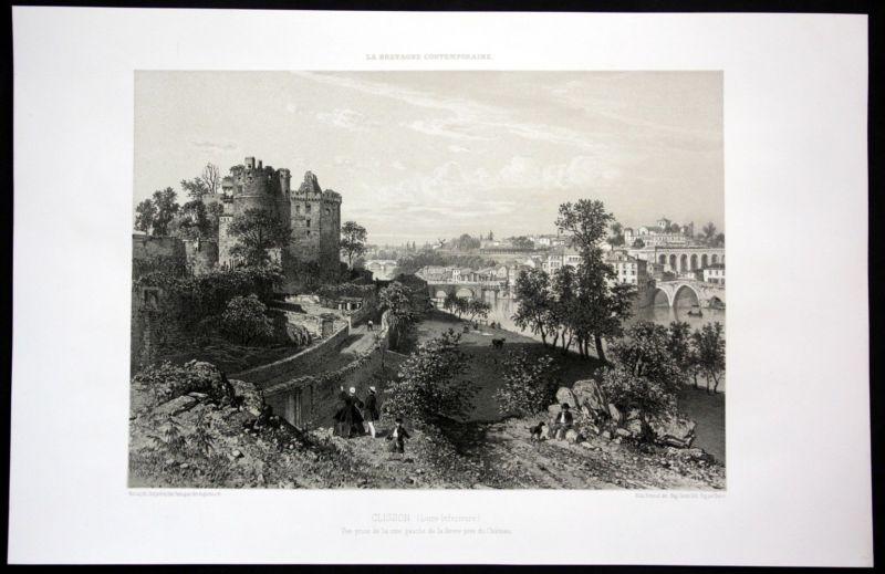 Ca. 1860 Clisson chateau vue Ansicht Bretagne Frankreich France Lithographie