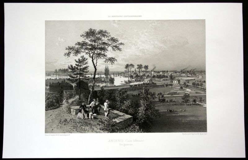 Ca. 1860 Ancenis vue generale Ansicht Bretagne Frankreich France Lithographie