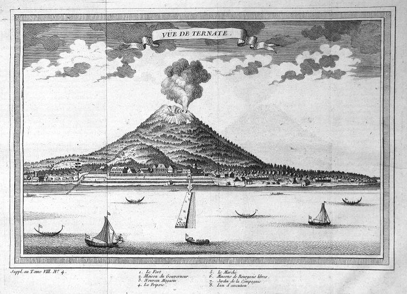 Ca. 1750 Ternate Molukken Maluku Island Ansicht view Kupferstich antique print