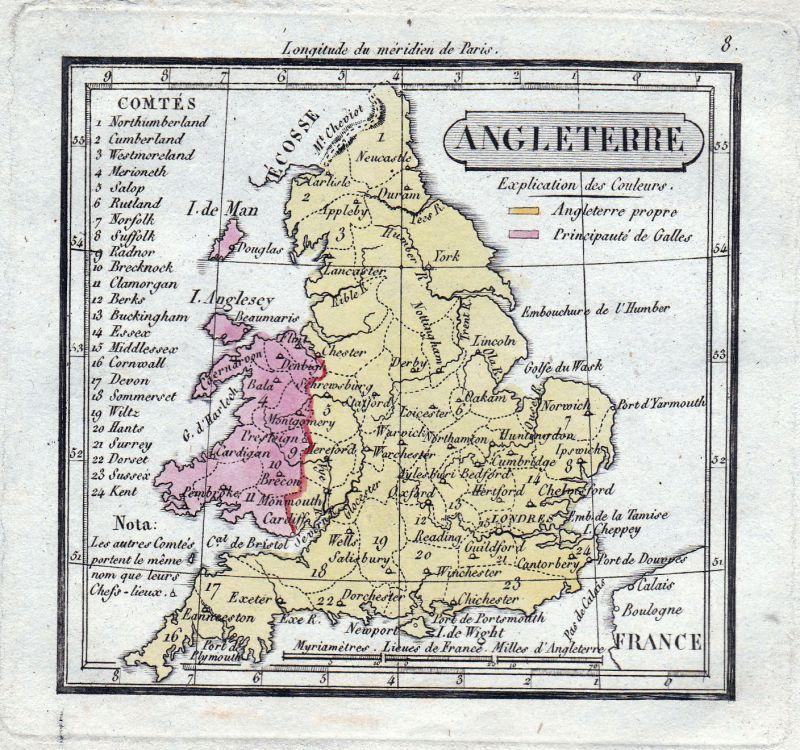 Ca. 1800 Ireland Scotland Karte map England Great Britain Wales antique print