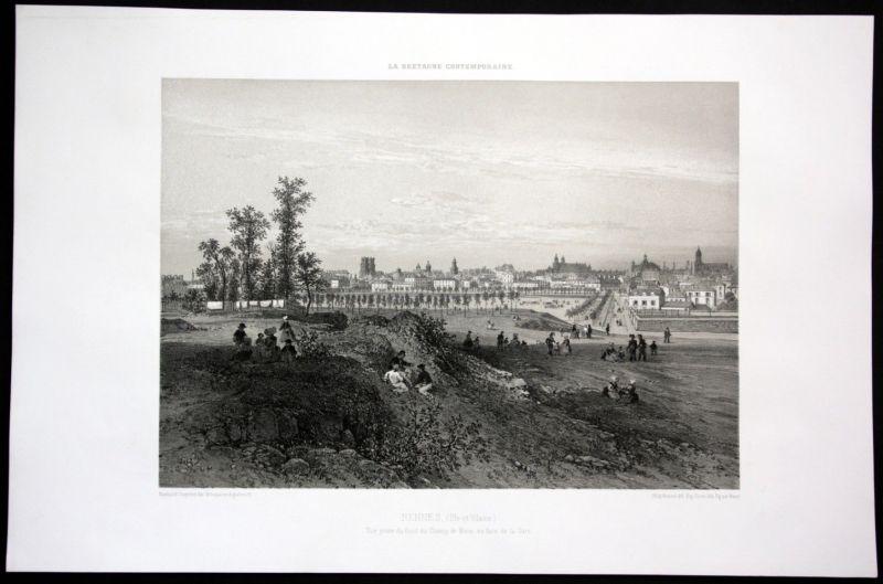 Ca. 1860 Rennes Anischt vue generale Bretagne Frankreich France Lithographie
