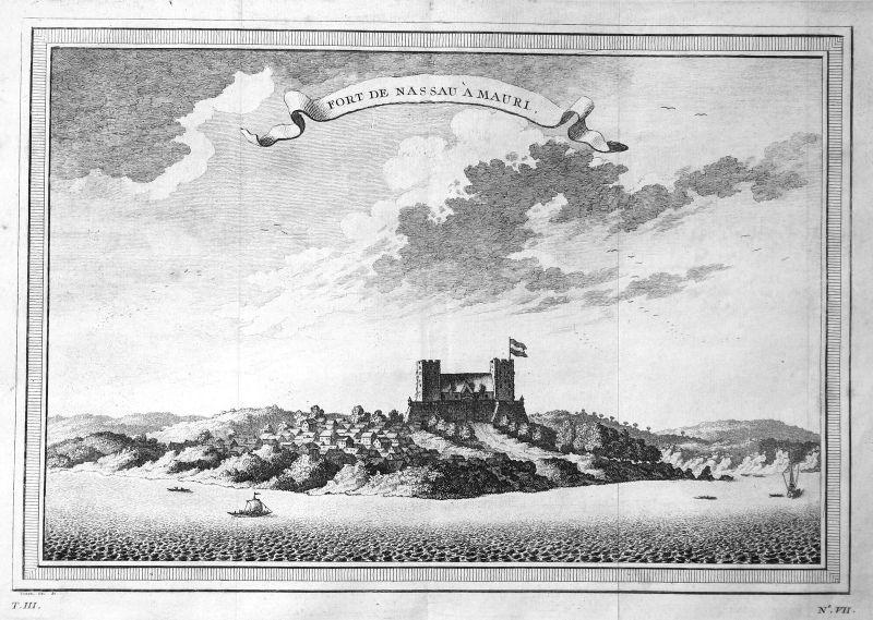 Ca. 1750 Mouri Fort Nassau Ghana Africa Ansicht view Kupferstich antique print