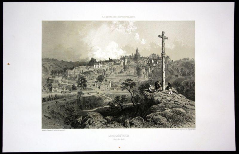 Ca. 1860 Monocontour Ansicht vue Bretagne Frankreich France Lithographie