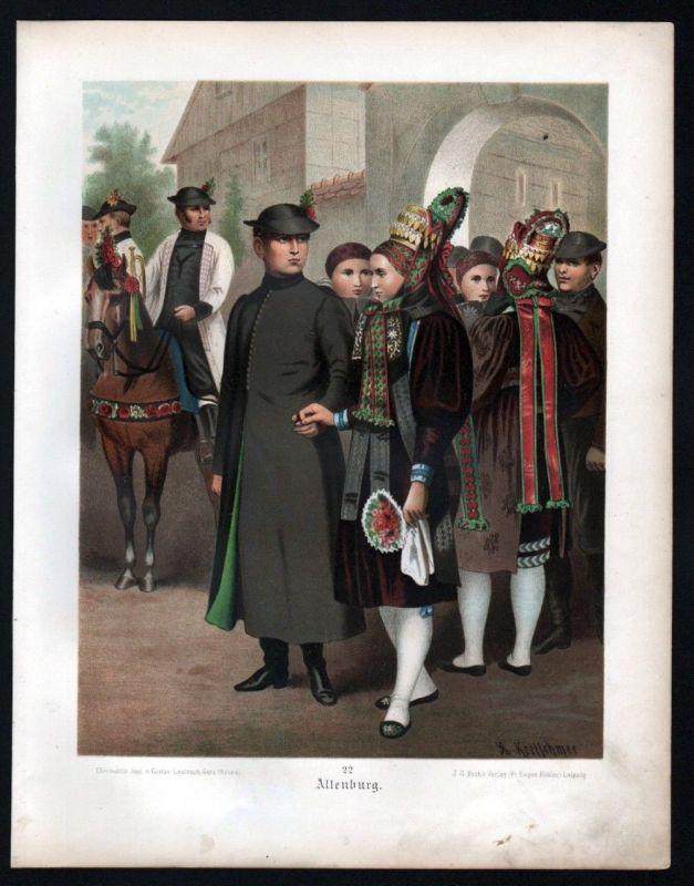 1890 Altenburg - Tracht Trachten Lithographie Kretschmer Albert