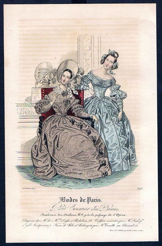 1837 Biedermeier Mode Kupferstich victorian fashion antique print Paris et 61173 0