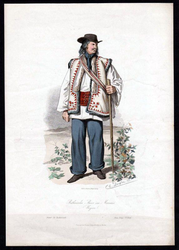 1880 - Ruthenischer Bauer Marmiras Türkei Turkey Tracht Trachten costumes Grafik
