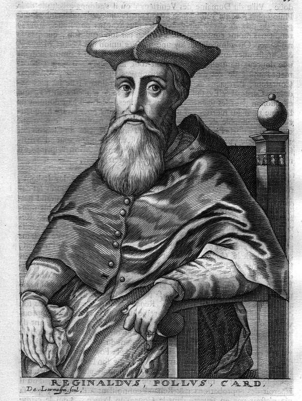 1680 Reginald Pole cardinal Kardinal Canterbury Kupferstich Portrait engraving