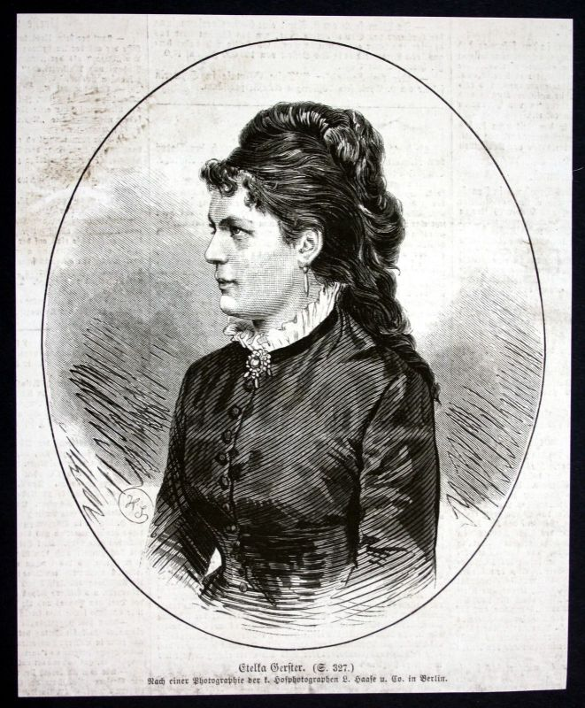1877 Etelka Gerster Opernsängerin Portrait Holzstich antique print