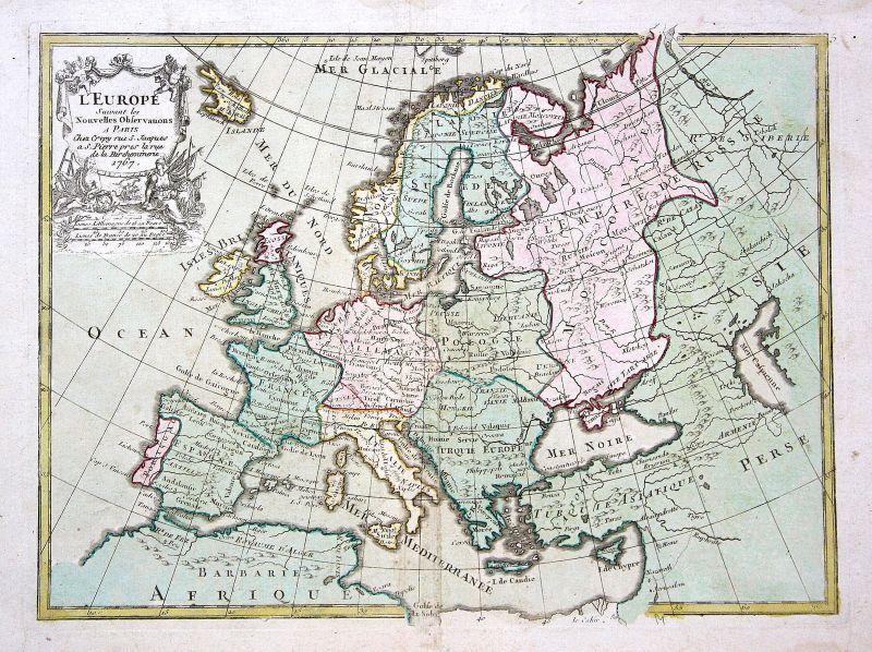 1767 Europa Europe continent Karte map carte Kupferstich antique print Le Rouge