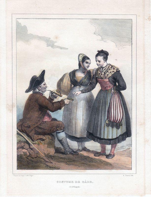 1840 Basel Bale Schweiz Suisse Kostüme costums Tracht Lithographie