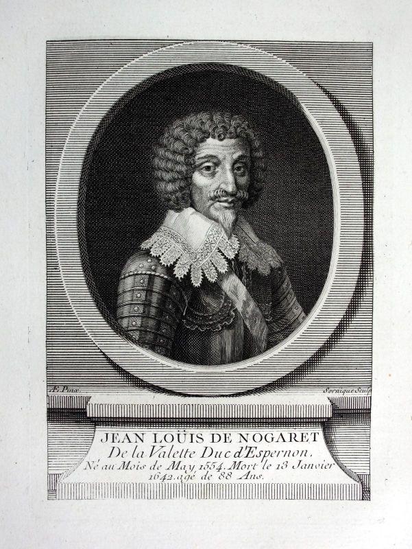 18. Jh. Jean Louis de Nogaret de La Valette duke military Kupferstich Portrait