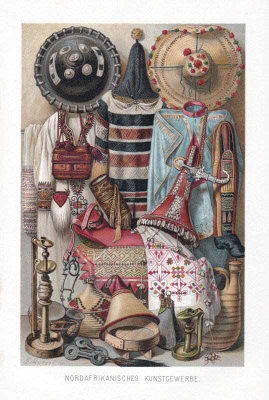 1890 Afrika Africa Kostüme costums Tracht Lithographie Litho Farblithographie