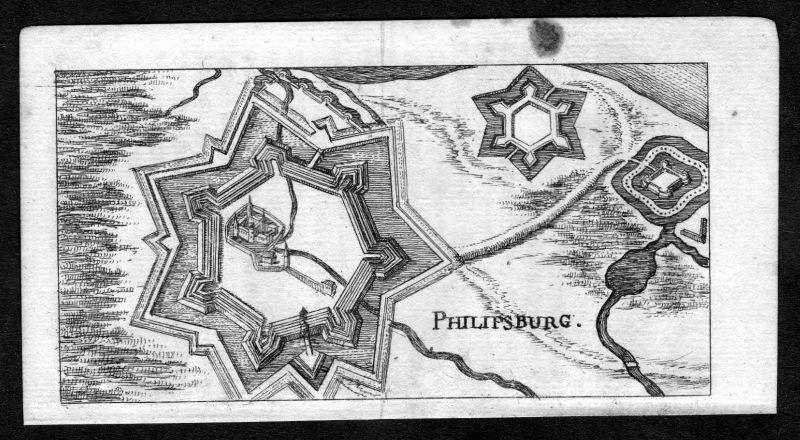 1685 Philippsburg Gesamtansicht Kupferstich Riegel