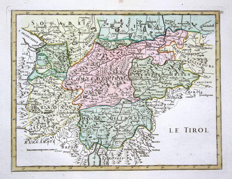 1767 Tirol Österreich Lago di Garda Karte map Kupferstich antique print Le Rouge