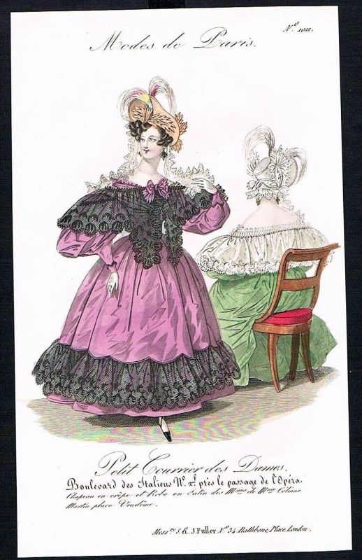1833  Biedermeier Mode Kupferstich victorian fashion antique print Paris e 61719