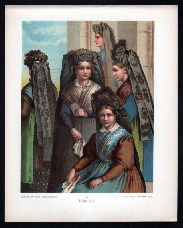 1890 Thüringen - Tracht Trachten Lithographie Albert Kretschmer