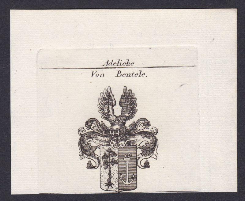 1820 Bentele Wappen Adel coat of arms Heraldik Kupferstich antique print