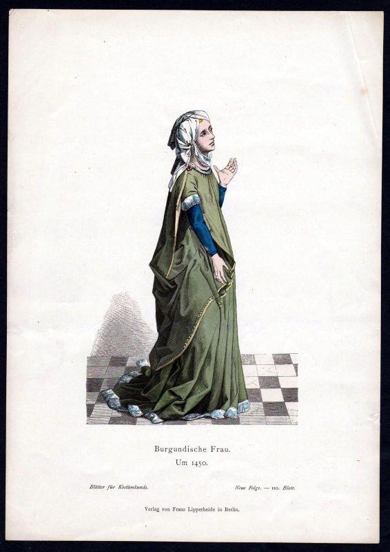 1880 - Burgund Bourgogne Frankreich France Tracht Trachten costumes Grafik