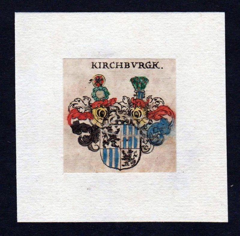 17. Jh von Kirchburg Wappen Adel coat of arms heraldry Heraldik Kupferstich