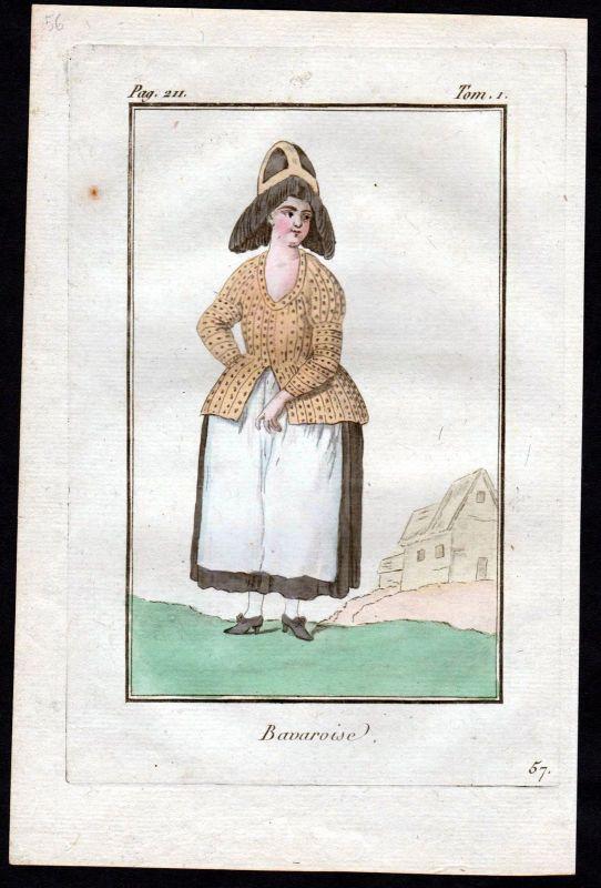 1780 - Bayern Bavaria Bayerin costume Kupferstich Tracht antique print