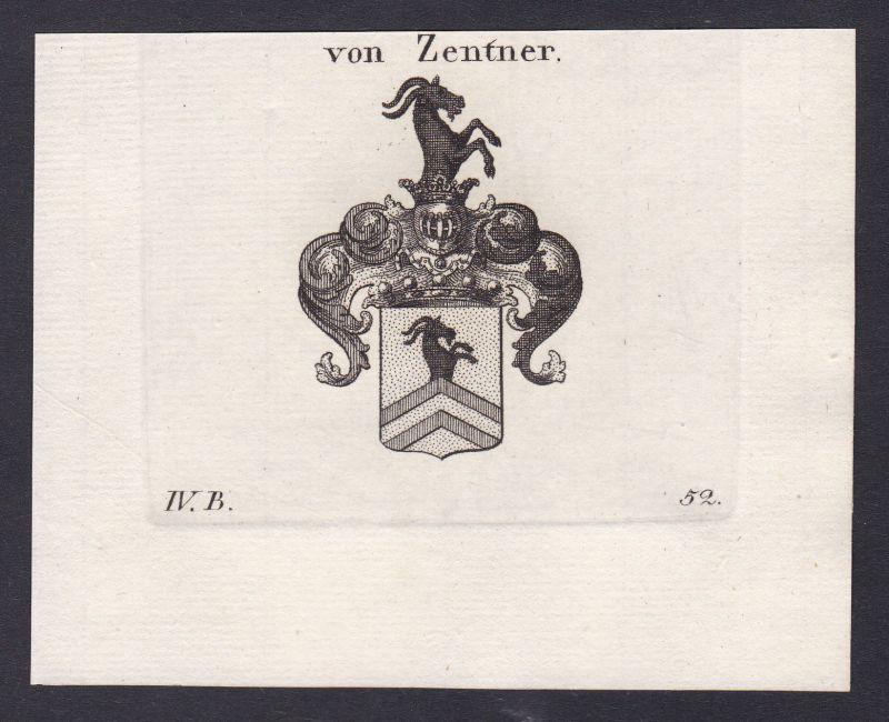 1820 Zentner Wappen Adel coat of arms Heraldik Kupferstich antique print