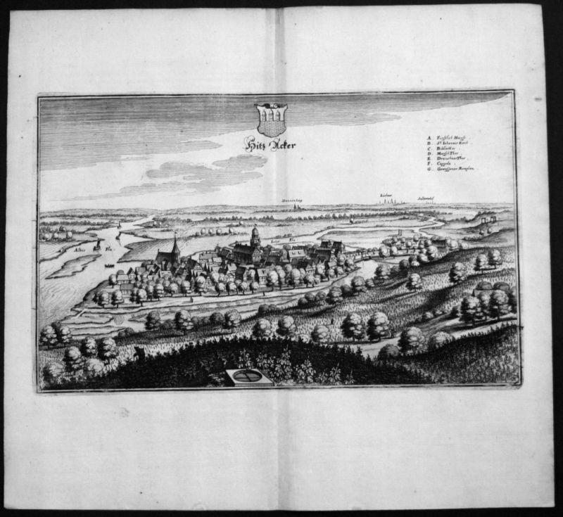 Hitzacker / Elbe - Elbtalaue - Gesamtansicht - Kupferstich Merian Merian: