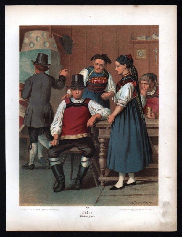 1890 Baden Rickesbach - Tracht Trachten Lithographie Kretschmer Albert