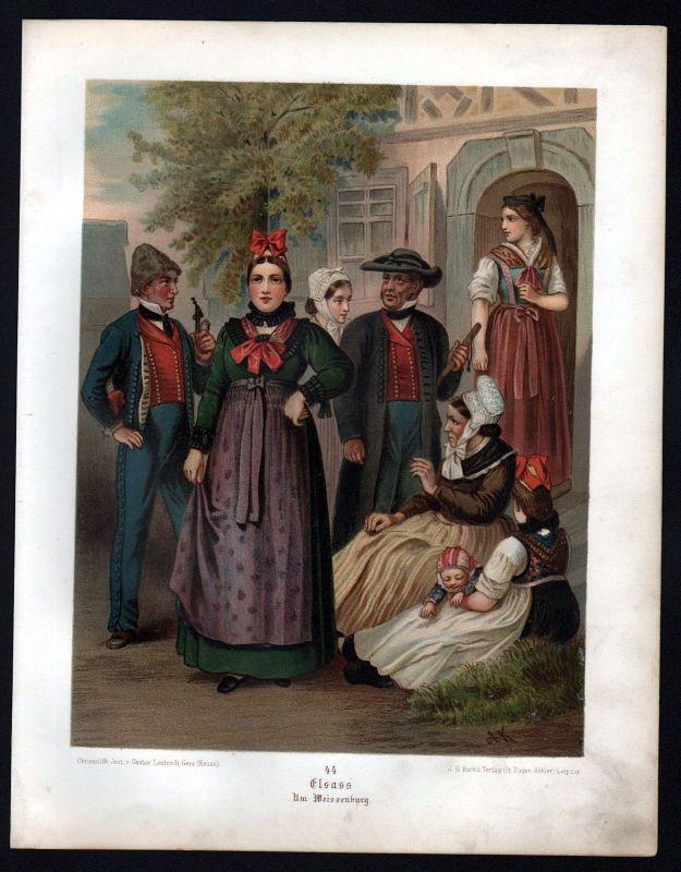 1890 Elsass Um Weissenburg - Tracht Trachten Lithographie Kretschmer Albert