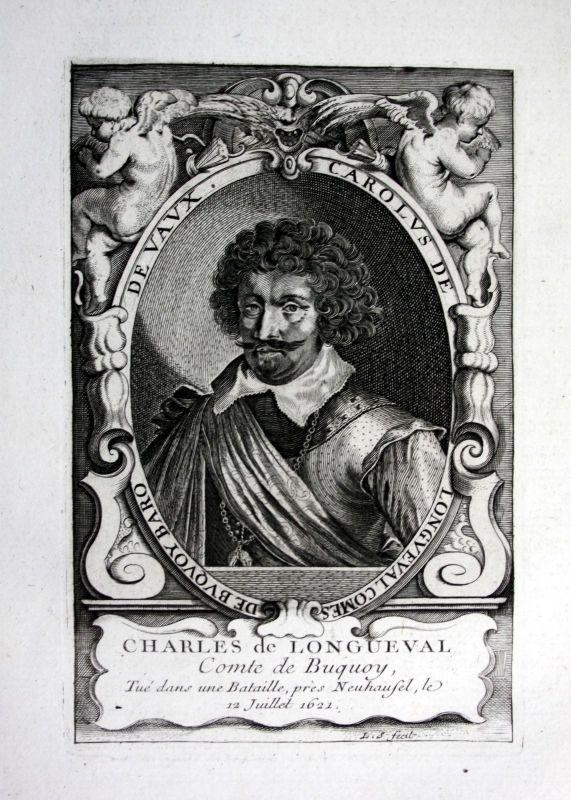 18. Jh Charles Bonaventure de Longueval Kupferstich Portrait engraving commander