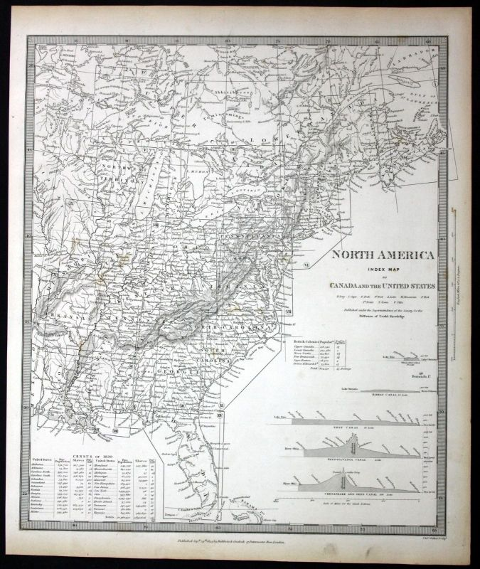 1834 United States Canada North America engraving map Karte SDUK