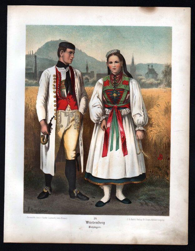 1890 Württemberg Betzingen - Tracht Trachten Lithographie Kretschmer Albert