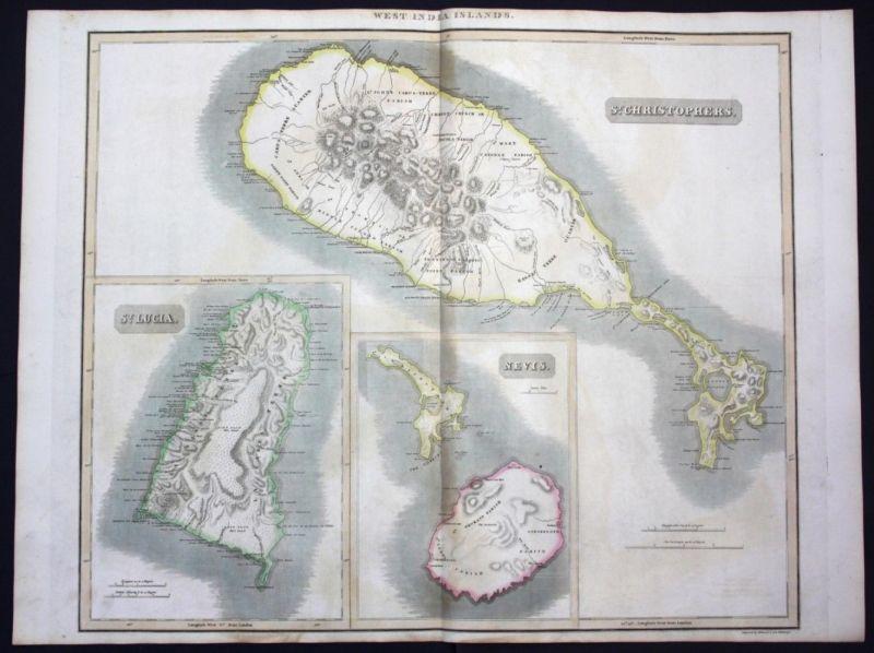 1817 West Indies Nevis island St Lucia Saint Kitts map Karte Thomson Kupferstich