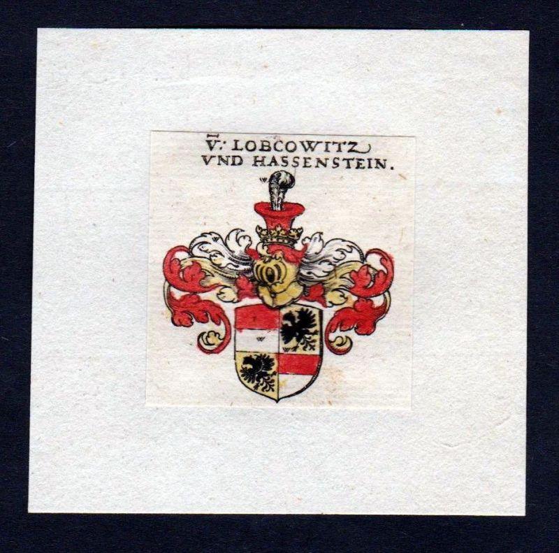 17. Jh von Lobkowitz Wappen Adel coat of arms heraldry Heraldik Kupferstich