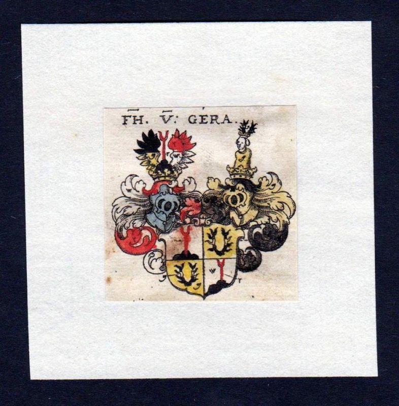 17. Jh von Gera Wappen Adel coat of arms heraldry Heraldik Kupferstich