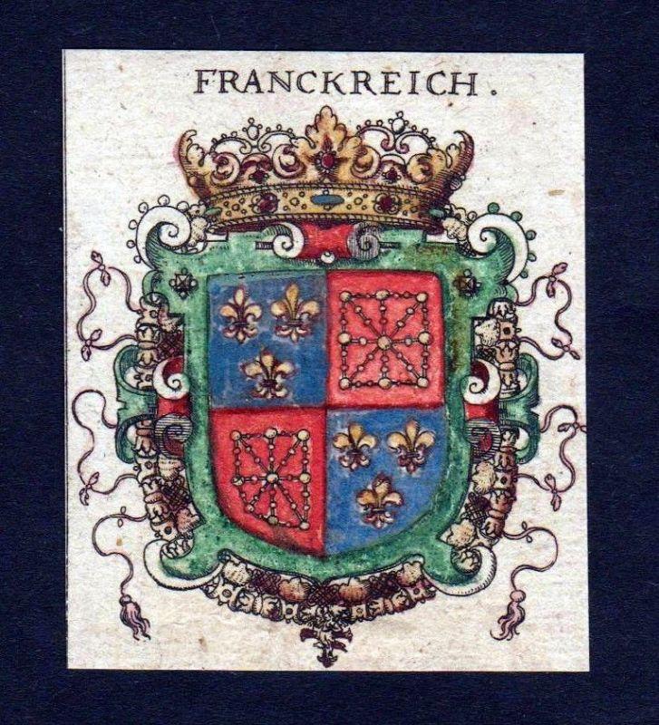 Frankreich France Wappen Adel coat of arms heraldry Heraldik Kupferstich
