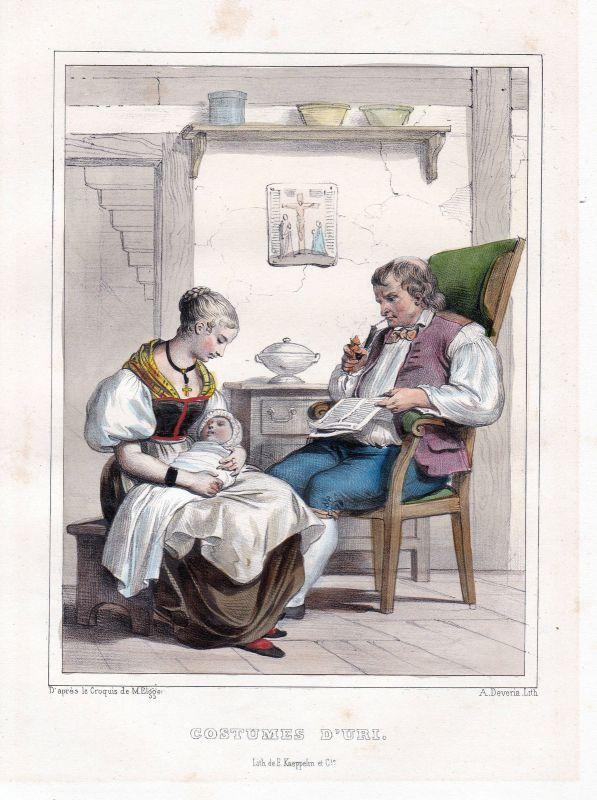1840 Kanton Uri Schweiz Suisse Kostüme costums Tracht Lithographie