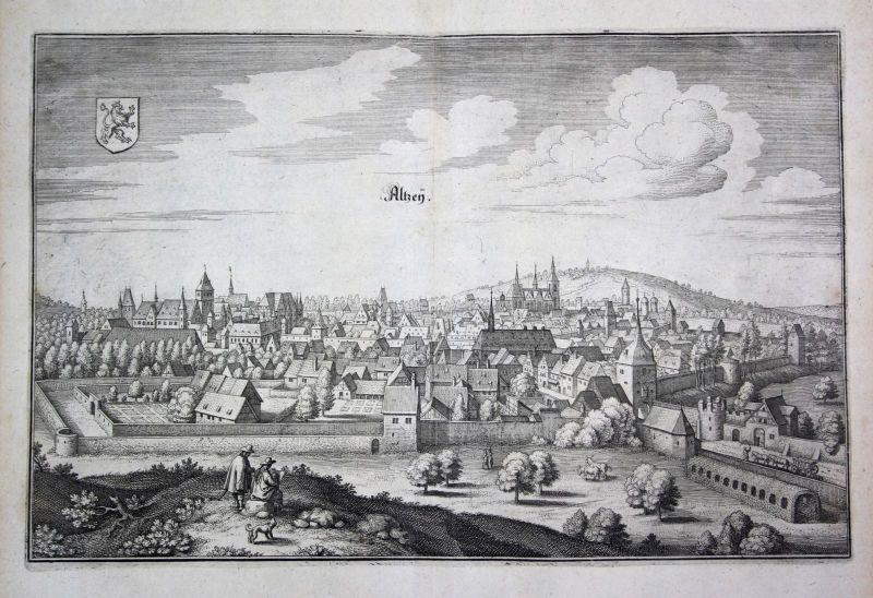 1698 Alzey Nibelungenstadt Ansicht view Kupferstich antique print Merian