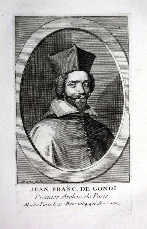 18. Jh. Jean Francois de Gondi archeveque Kupferstich Portrait engraving gravure