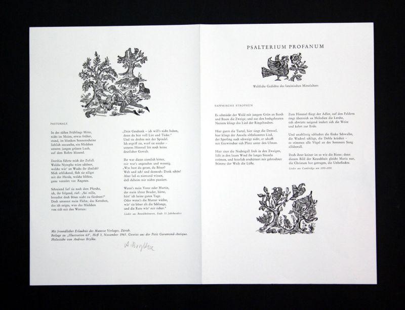 1965 Andreas Brylka Original-Holzstiche zu Gedichten des Mittelalters signiert